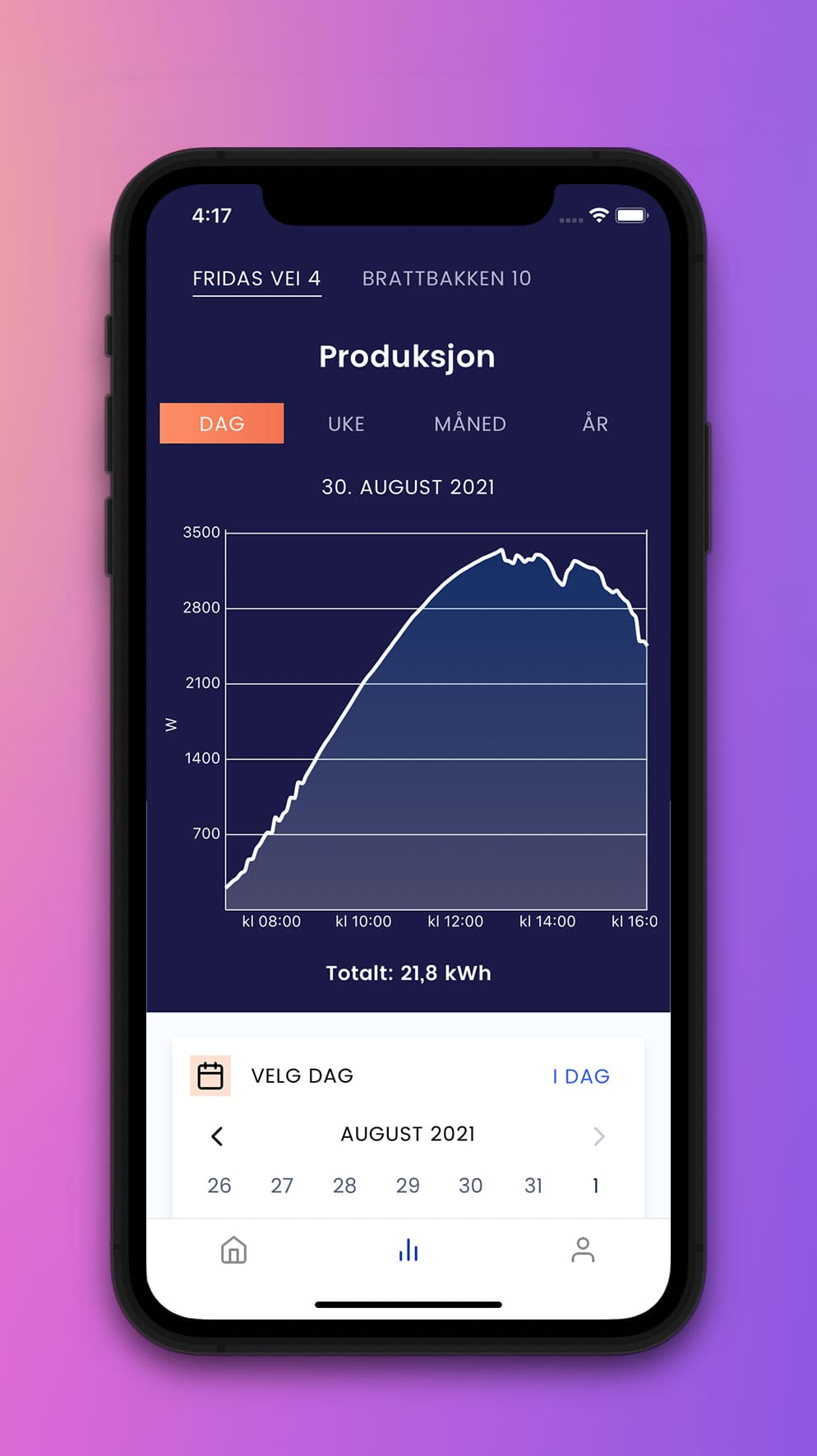 Otovo Solar App - kalender